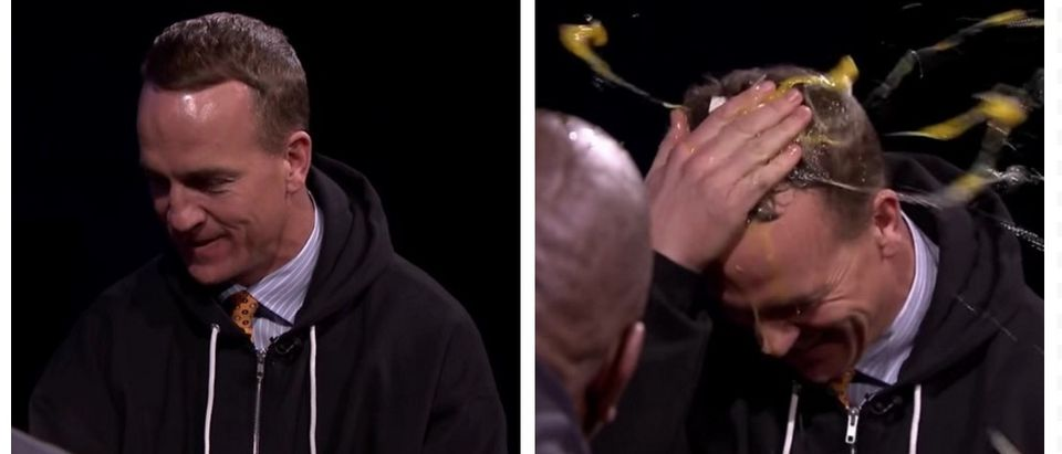 Watch Peyton Manning Smash Eggs On His Giant Forehead For Charity (YouTube)