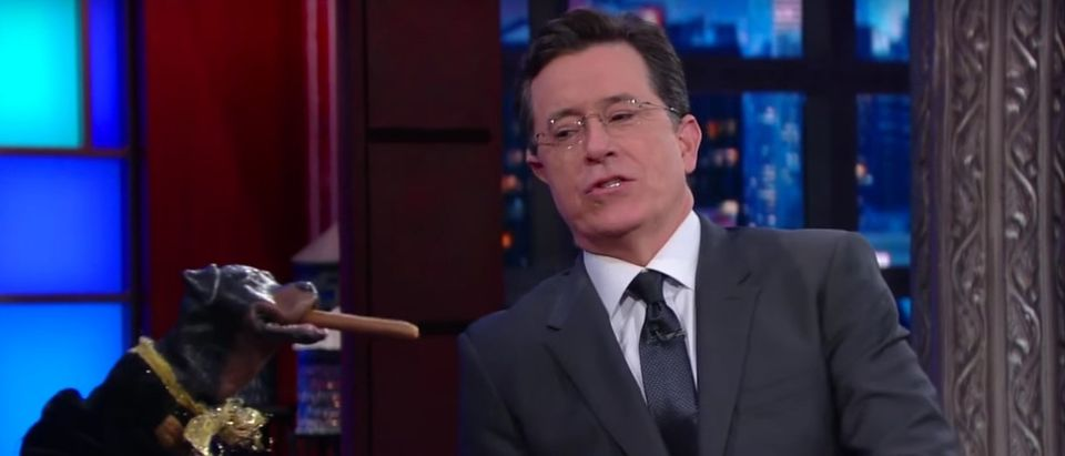 Triumph The Insult Comic Dog, Stephen Colbert, Screen shot Youtube. 'The Late Show'