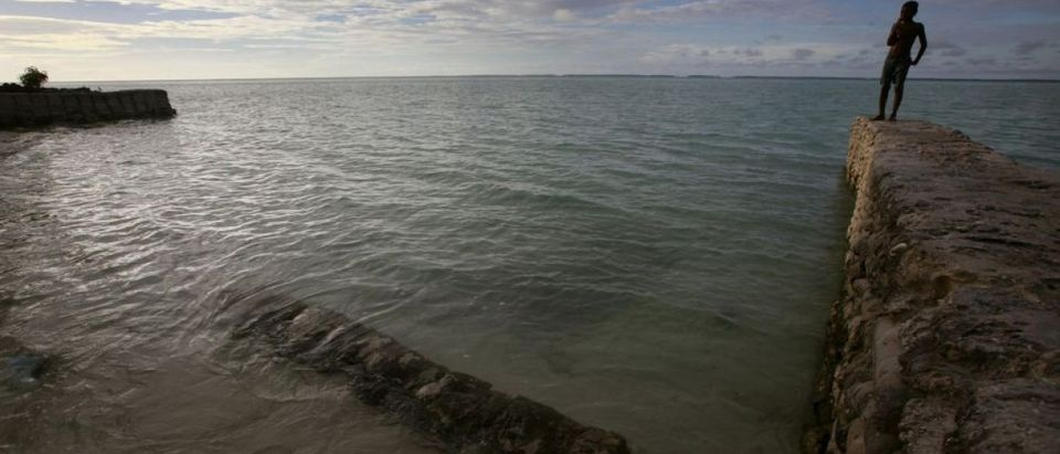 Sea walls like these haven't been enough to stop the steady rise of the seas around Kiribati. (Reuters/David Gray)