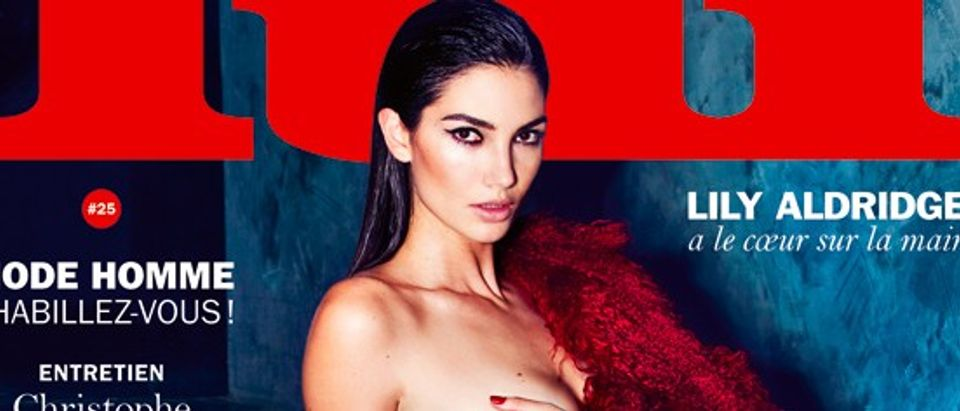 Lily Aldridge is naked on the cover of Lui magazine