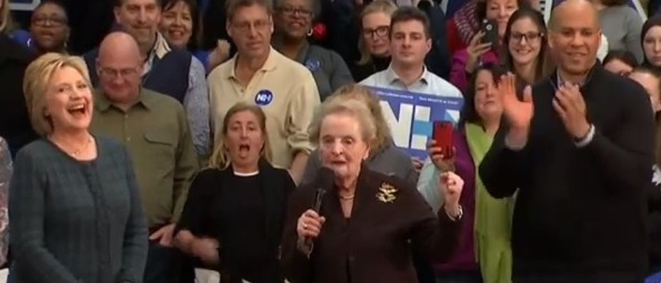 Hillary Clinton, Madeleine Albright and Cory Booker at event in Concord, N.H. (Youtube screen grab)