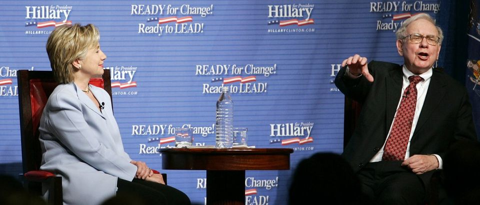 Buffet speaks at a fundraising event for Democratic presidential candidate Senator Clinton in New York City