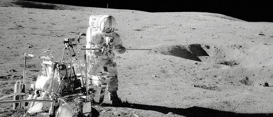The Apollo 14 crew module landed on the moon forty-four years ago in this NASA image