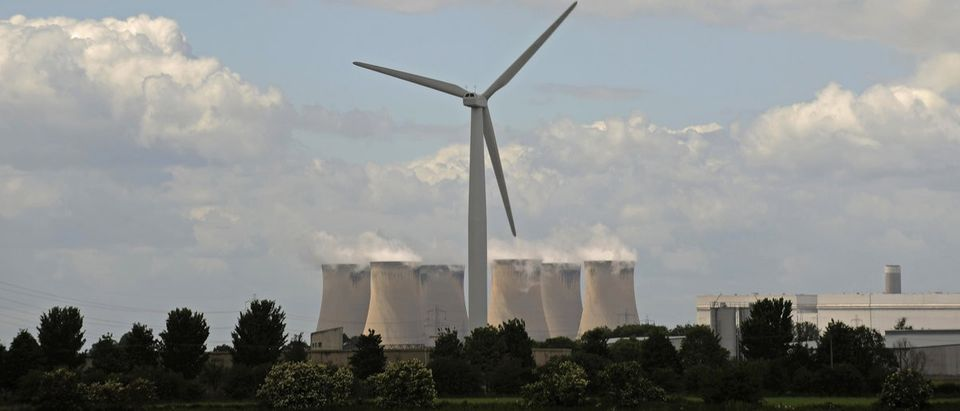 A wind turbine is pictured near Selby, northen England