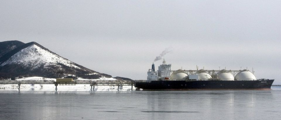 A Japanese-made liquefied natural gas carrier is anchored near an LNG plant on Sakhalin island near the town of Korsakov
