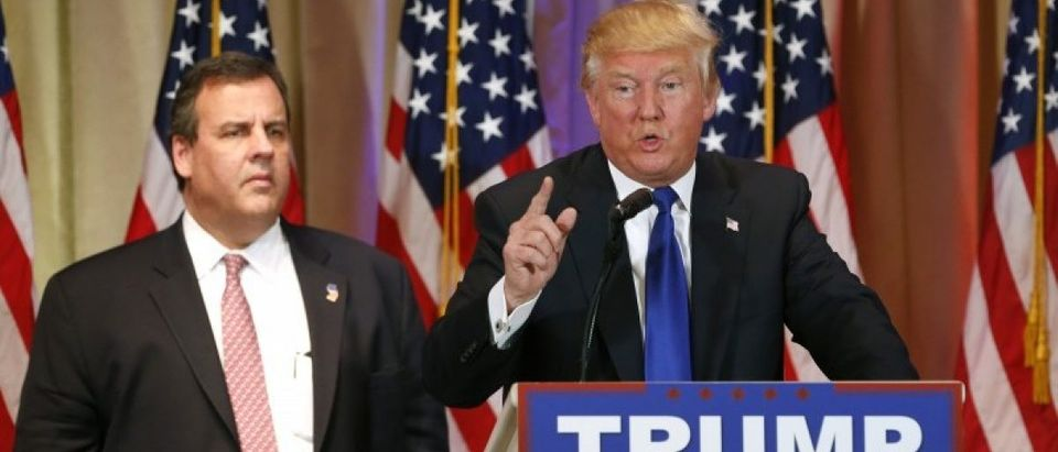 Donald Trump, with Chris Christie at his side, speaks about the results of Super Tuesday primary
