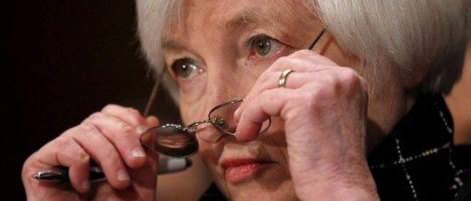 """Federal Reserve Board Chair Janet Yellen testifies before a Senate Banking, Housing and Urban Affairs Committee hearing on the """"Semiannual Monetary Policy Report to Congress"""" in Capitol Hill, Washington"""