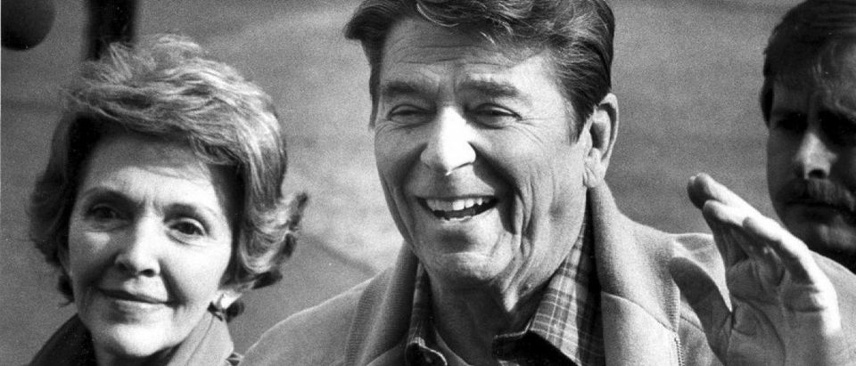 President Ronald Reagan and first lady Nancy Reagan return to the White House after spending a weekend at Camp David in this Feb. 15, 1982 file photo