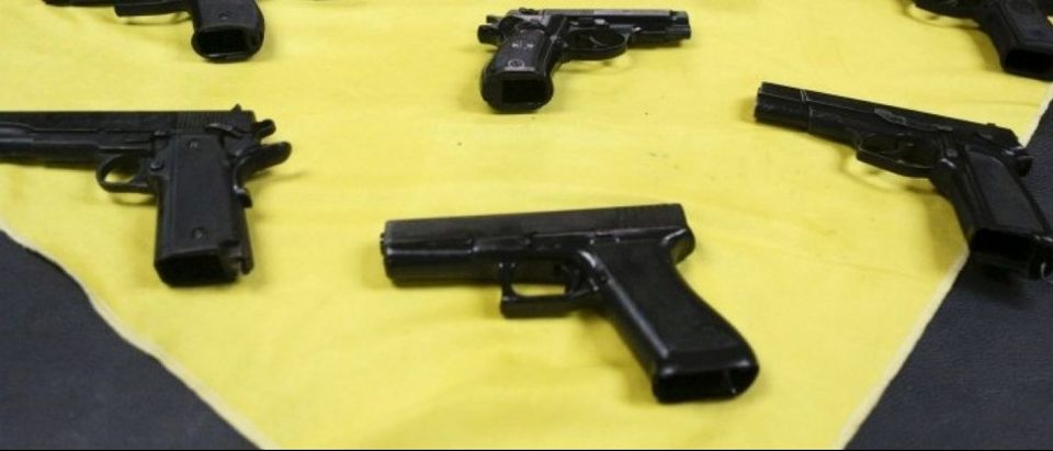 A selection of handguns are on display at CAVIM Venezuelan military factory in Maracay