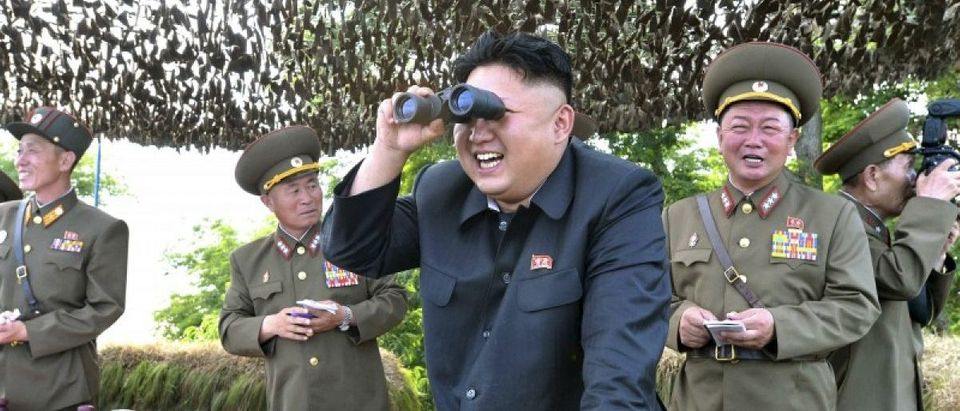 KCNA file photo showing North Korean leader Kim Jong Un looking through a pair of binoculars during inspection of Hwa Islet Defence Detachment off east coast of Korean peninsula
