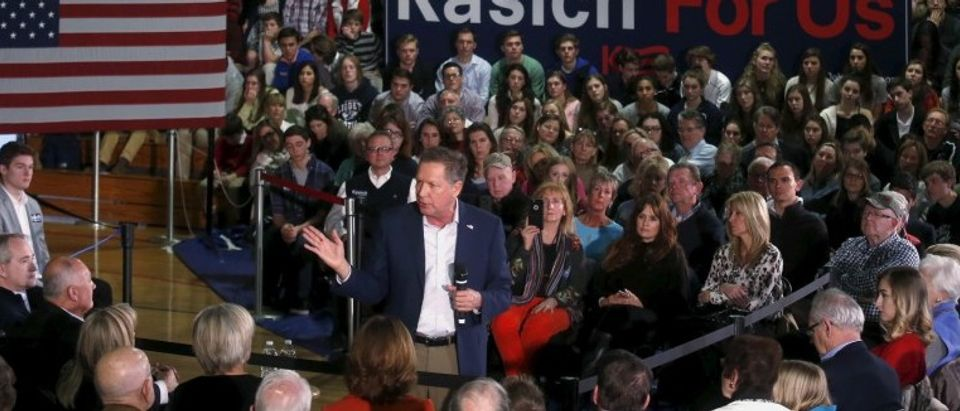 Republican U.S. presidential candidate John Kasich addresses supporters during a campaign stop in the gymnasium of University Liggett School in Grosse Pointe Woods, Michigan