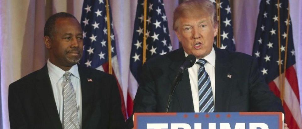 Republican U.S. presidential candidate Trump speaks after receiving Carson endorsement in Palm Beach, Florida