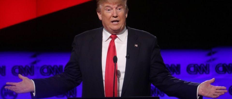 Republican U.S. presidential candidate Donald Trump speaks at the candidates debate in Miami