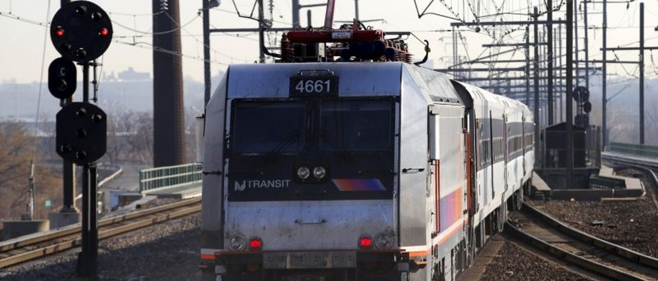 A New Jersey Transit commuter train bound for New York City exits the Secaucus Junction station in Secaucus