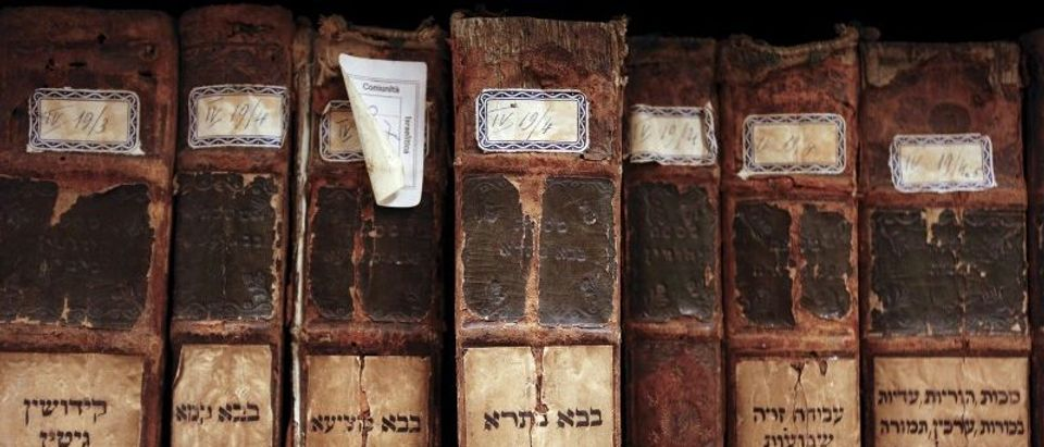 Ancient Hebrew books are seen in the vaults of the Jewish Library in the Venice ghetto, northern Italy, March 22, 2016