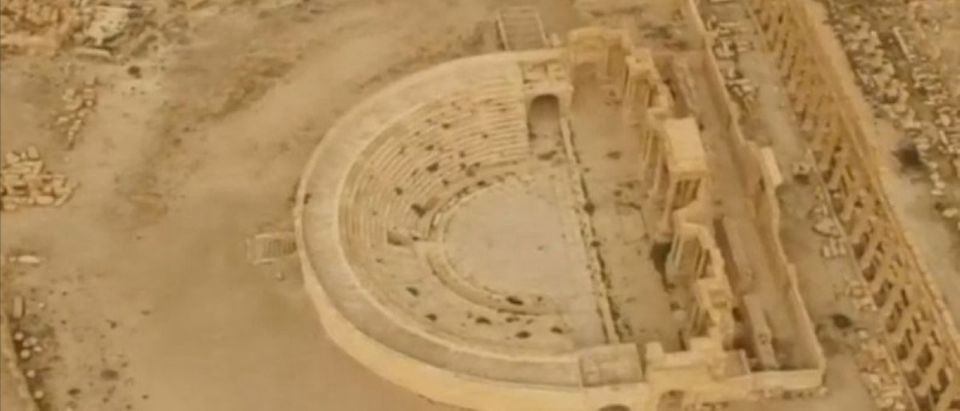 Still image from video shows aerial view of historic city of Palmyra, in Homs Governorate, Syria