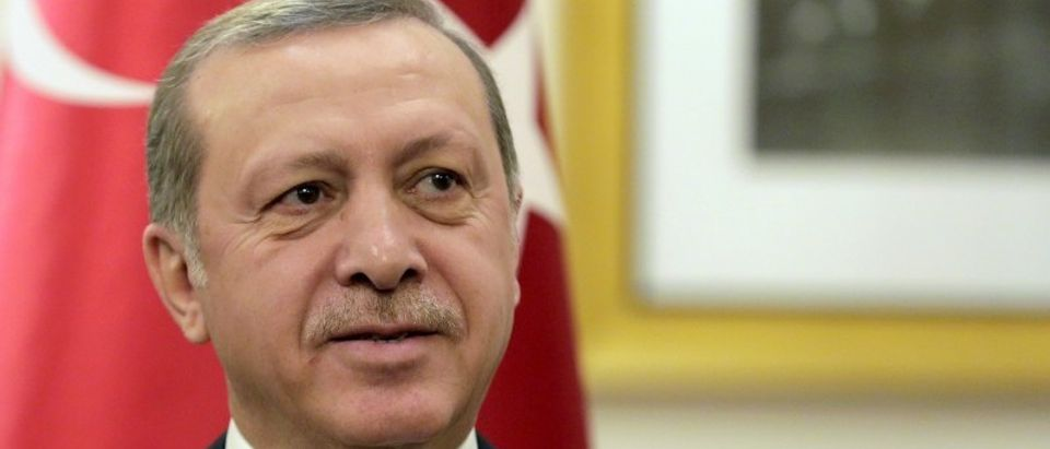 Turkish President Tayyip Erdogan attends a bilateral meeting with U.S. Vice President Joe Biden in Washington
