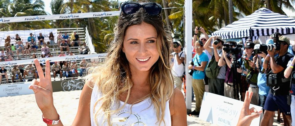 Anastasia Ashley attends Sports Illustrated Swimsuit Beach Volleyball Tournament on Ocean Drive at Miami Beach on February 20, 2014 in Miami