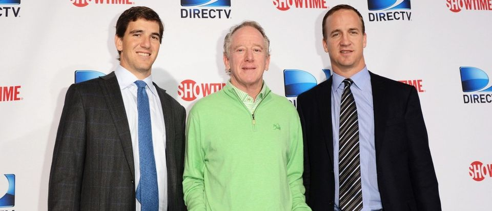 NEW ORLEANS, LA - FEBRUARY 02: (L-R) Eli Manning, Archie Manning and Peyton Manning attends DIRECTV'S Seventh Annual Celebrity Beach Bowl at DTV SuperFan Stadium at Mardi Gras World on February 2, 2013 in New Orleans, Louisiana. (Photo by Jason Merritt/Getty Images For DirecTV)