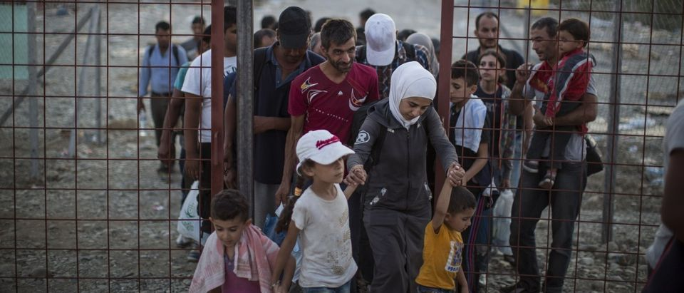 After crossing the Greek Macedonian border and having papers processed, migrant families walk out of a transit area towards Gevgelija train station to find transport North to the Serbian border on September 3, 2015 near Gevgelija, Macedonia. (Dan Kitwood/Getty Images)