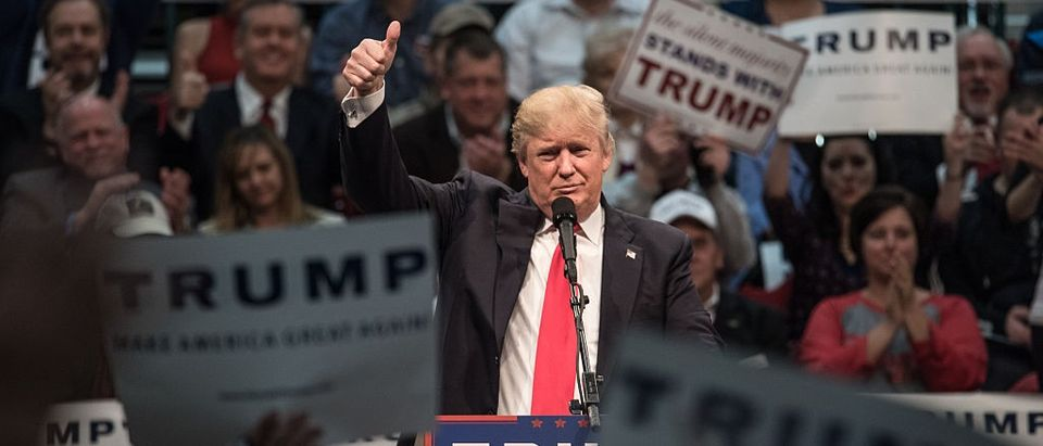 Republican presidential candidate Donald Trump addresses the crowd at a campaign rally March 7, 2016 in Concord, North Carolina.