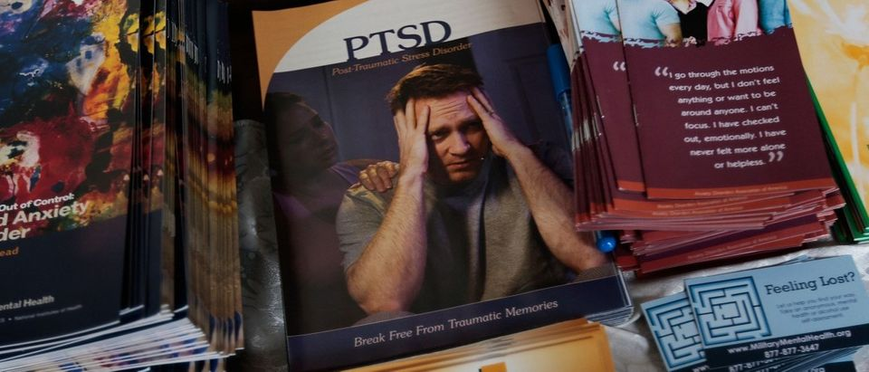 Pamphlets about Post Traumatic Stress Disorder are seen on a table December 15, 2009 at Fort Hamilton Army Garrison in Brooklyn, New York. (Chris Hondros/Getty Images)