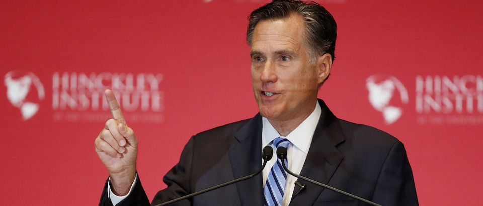 Former Republican presidential nominee Mitt Romney speaks critically about current Republican presidential candidate Donald Trump and the state of the 2016 Republican presidential campaign during a speech at the Hinckley Institute of Politics at the University of Utah in Salt Lake City, March 3, 2016. (REUTERS/Jim Urquhart)