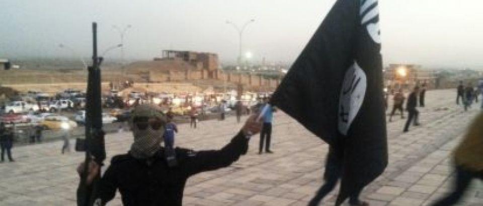 ISIS flag and gun
