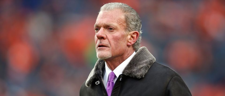 Indianapolis Colts owner Jim Irsay in the 2014 AFC Divisional playoff football game at Sports Authority Field at Mile High