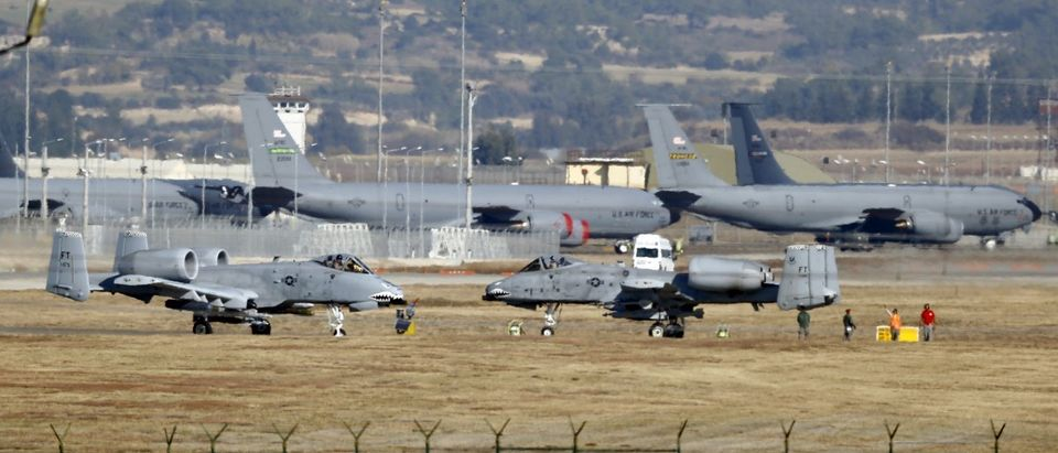 File photo of U.S. Air Force A-10 Thunderbolt II fighter jets are pictured at Incirlik airbase in Adana, Turkey
