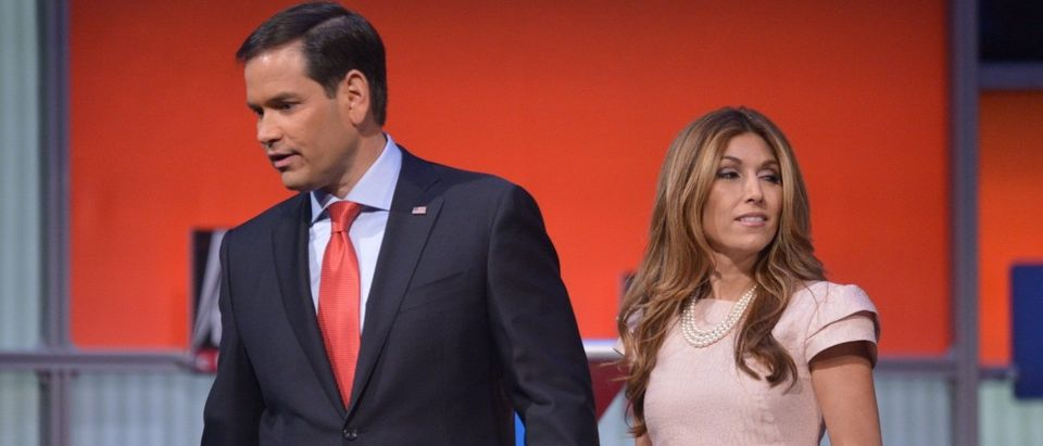 Florida Senator Marco Rubio stands with his wife Jeanette Dousdebes following the Republican presidential primary debate on August 6, 2015 at the Quicken Loans Arena in Cleveland