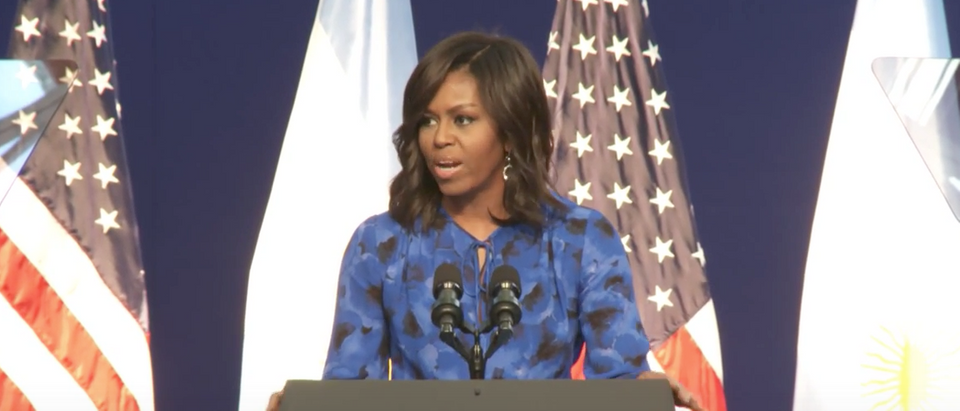 "Michelle Obama talks to Argentinian high school students at ""Let Girls Learn"" conference, March 23, 2016. (Youtube screen grab)"