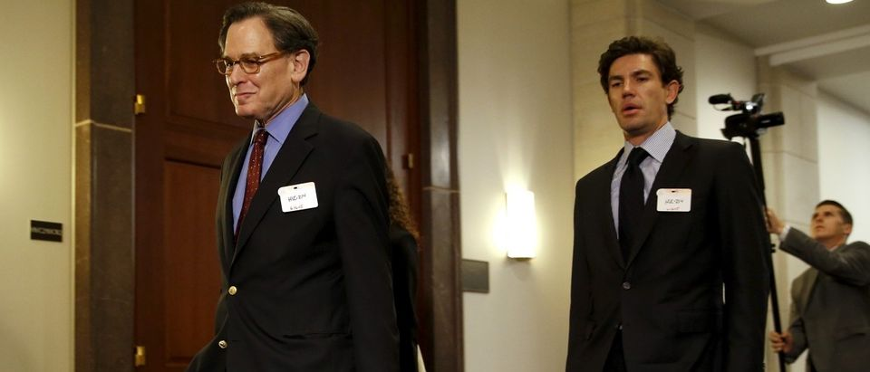 Sidney Blumenthal, left, a longtime Hillary Clinton friend who was an unofficial adviser while she was secretary of state, arrives to be deposed in private session of the House Select Committee on Benghazi at the U.S. Capitol in Washington June 16, 2015