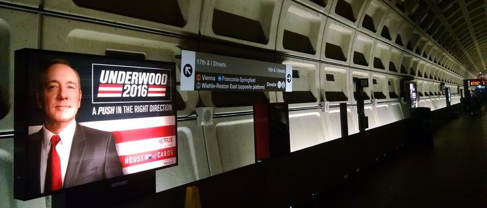Underwood 2016 advertisement in the Court House metro station - (Photo Credit - Steve Birr)