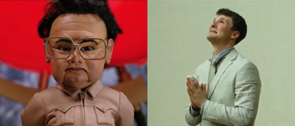 Puppet North Koreans and Otto Warmbier [YouTube screenshot/Movieclips, CNN screenshot]