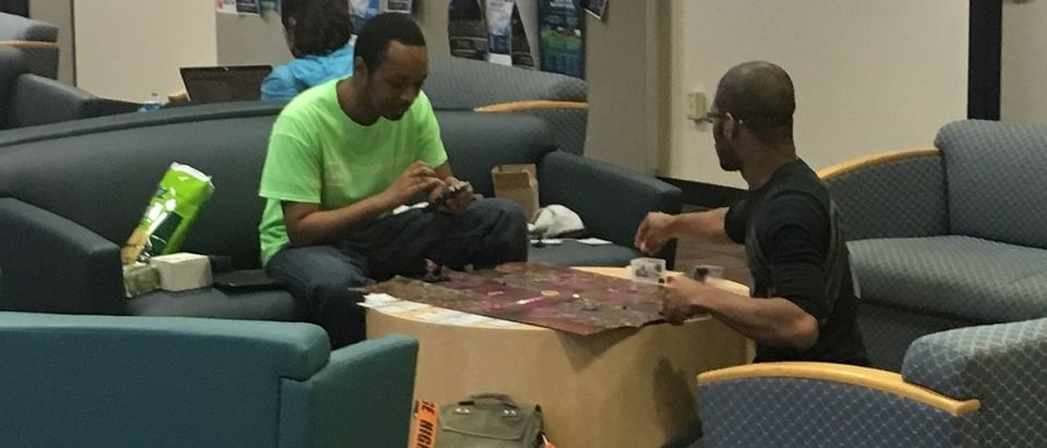 College students play children's games