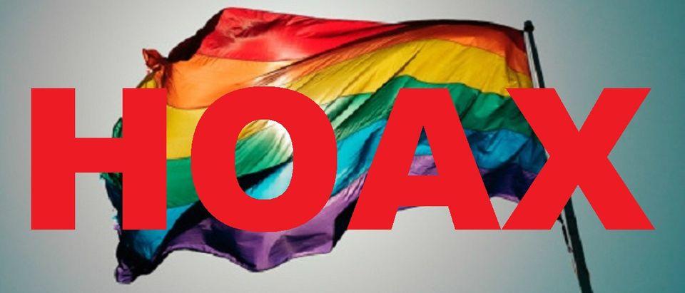 Gay rainbow flag with hoax