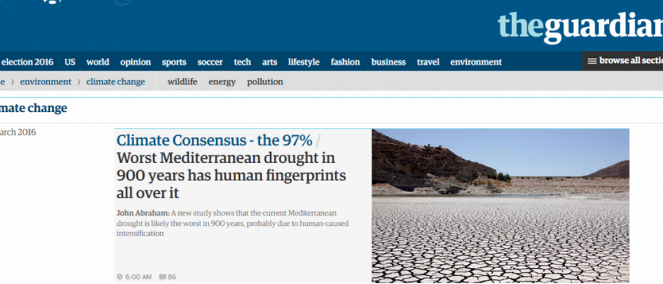 Screenshot: The Guardian's Climate Change news page