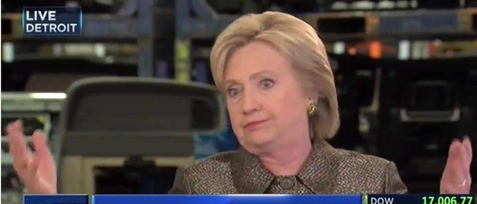 Hillary Clinton talks about her emails on CNBC, March 4, 2016.
