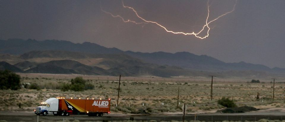 Lightning strikes across the skies of Barstow in California during monsoon.