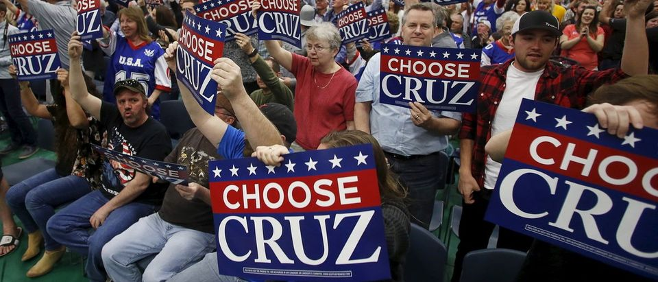 Supporters cheer during a campaign rally for Republican U.S. presidential candidate Ted Cruz in Provo