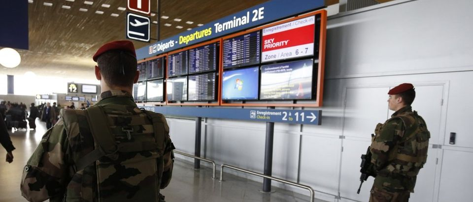 French soldiers patrols inside the Charles de Gaulle International Airport in Roissy, near Paris