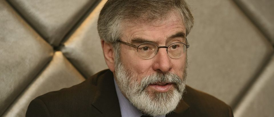 Sinn Fein leader Gerry Adams speaks during an interview with Reuters in Kilkenny