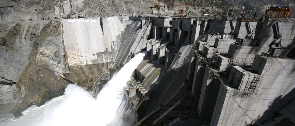 A general view of a newly inaugurated 450-megawatt hydropower project is seen at Chanderkote