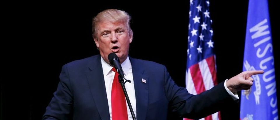 Republican U.S. presidential candidate Donald Trump speaks in Racine
