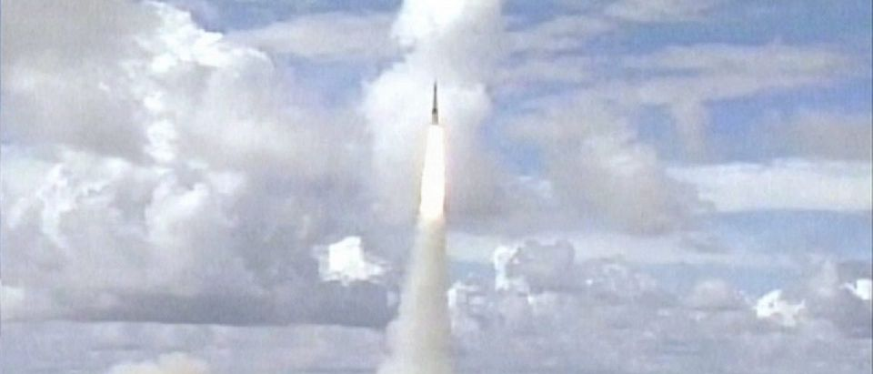 File photo of a modified Minuteman intercontinental ballistic missile ICBM during a test launch from Vandenberg AFB California