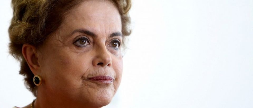 Brazil's President Dilma Rousseff works at her office in Brasilia
