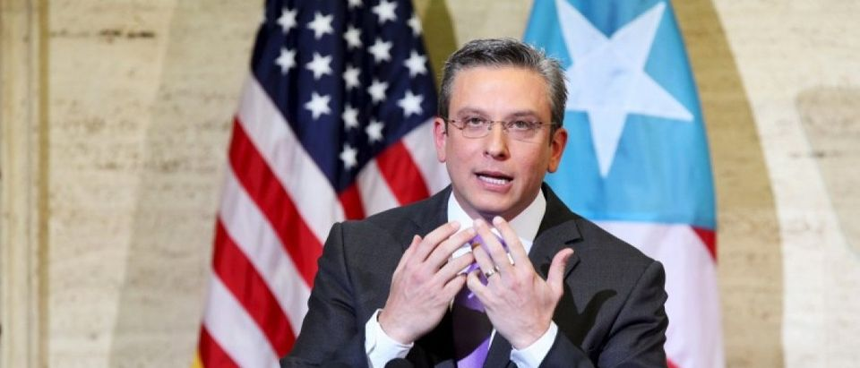 File photo of Puerto Rico's Governor Garcia Padilla speaking ain San Juan