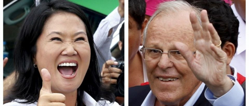 Combination file picture shows Peru's presidential candidates (L-R) Keiko Fujimori after voting and Pedro Pablo Kuczynski arriving to vote, during the presidential election in Lima, Peru