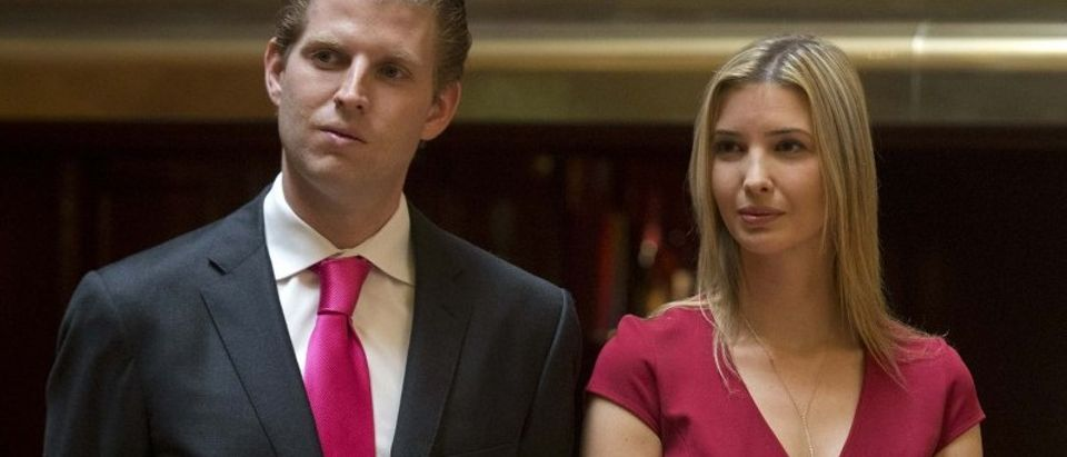 Eric Trump, Ivanka Trump attend a news conference in New York